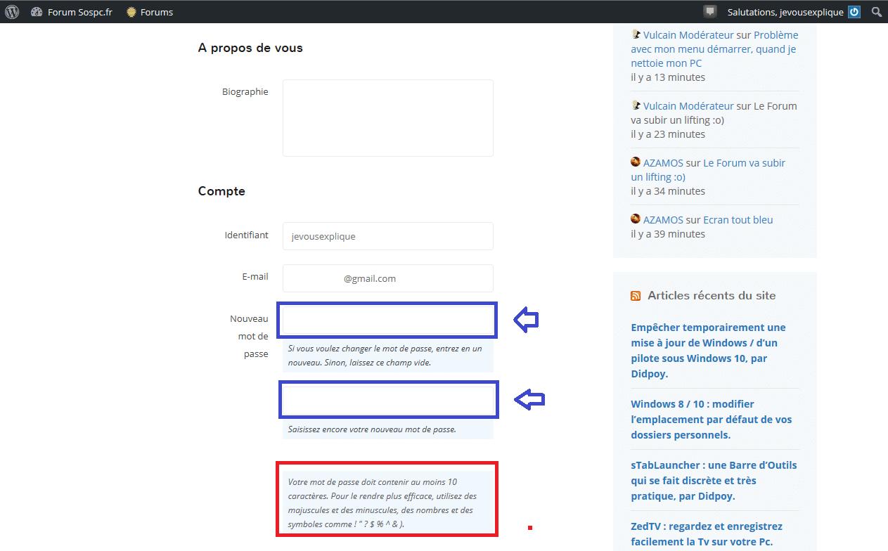 changer mot de passe forumsospc.fr